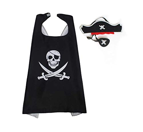 Astra Gourmet Cartoon Pirate Dress Up Satin Cape Kids Costume Set for Pirate Theme Birthday Party Halloween Party Supplies