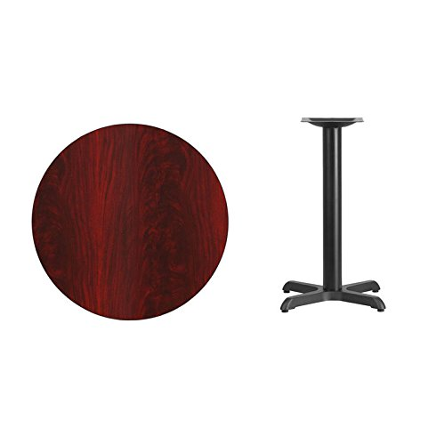 30'' Round Mahogany Laminate Table Top with X-Base - Table Height Restaurant Table by Flash