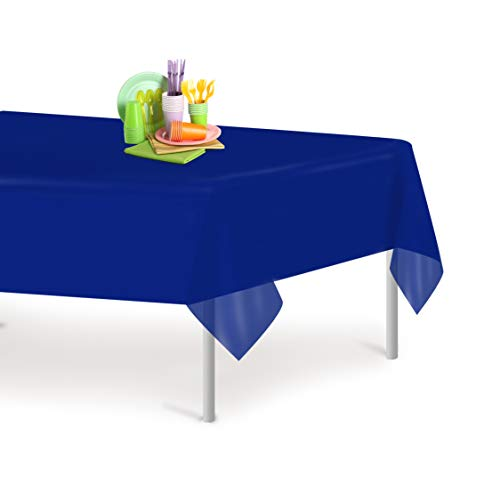 (Navy Blue 6 Pack Premium Disposable Plastic Tablecloth 54 Inch. x 108 Inch. Rectangle Table Cover By Grandipity )