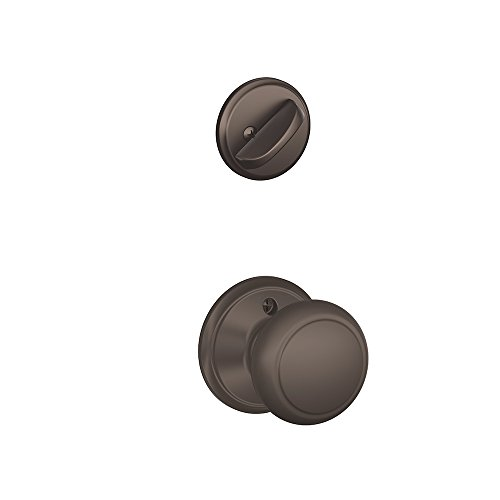 613 Interior Single Cylinder - Schlage F59-AND-613 Oil Rubbed Bronze Andover Knob and Deadbolt with Regular Rose (Interior Half Only)