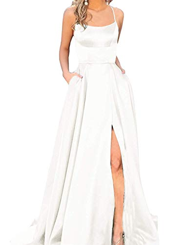 (JASY Women's Spaghetti Satin Long Black Side Slit Prom Dresses with)