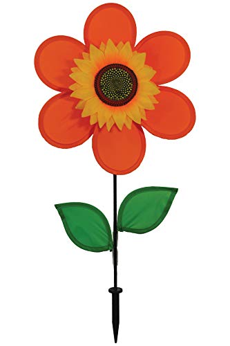 (In the Breeze 2704 Orange Sunflower Wind Spinner with Leaves, 12 Inch)