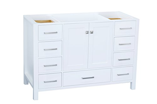 ARIEL Cambridge A049S-BC-WHT 48 Inch Single Solid Wood White Bathroom Vanity Base Cabinet with 2 Soft-Closing Doors and 9 Self-Closing Drawers