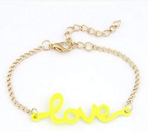 (Stylish Letter Love Metal Bracelet Lady Jewelry Accessories Fashion Bracelet Women Wrist Necklace Party Gift 3 17.5cm )