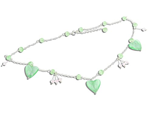 - Sterling Silver Green Heart Foil Glass Beaded Necklace 16