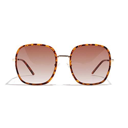 XXLMNJHG Korean Version of The Big Box Reflective White Mercury Sunglasses Female Half Metal Retro Sunglasses Men's Double Ring Glasses