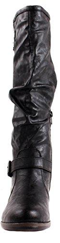 alta De Mujer Negro montage caña Slouchy 02 correas hebilla nbsp;N de Botas bambú de con la PrZI5qP