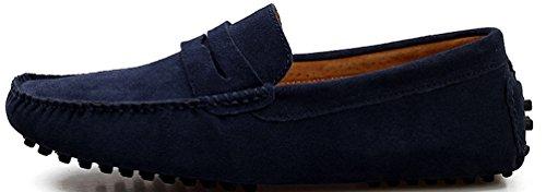 Abby Mens Qz-2088 Moda Comfort Cosiness Accogliente Messaggio Chirismus Guida Scarpe Di Pelle Piatta Blu