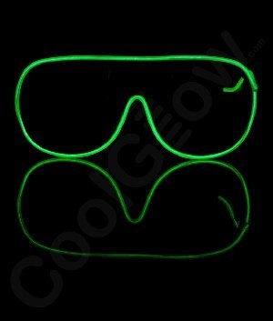 Fun Central AU103 EL Aviator Glasses Black Frame - Green