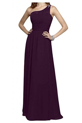 La novia de un-hombro de diseño de la Toscana de cristal vestidos de Gasa de noche Prom vestidos de fiesta de bola de largo Traube