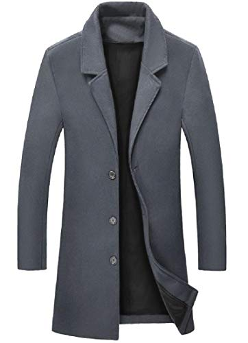 (Vska Men's Textured Wool and Warm Mid Long Fall Winter Pea Coat Dark Grey XL)
