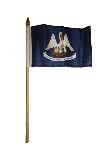 ALBATROS (6 Pack) 6x9 6ftx9ft State of Louisiana Stick Flag with Wood Staff for Home and Parades, Official Party, All Weather Indoors Outdoors ()