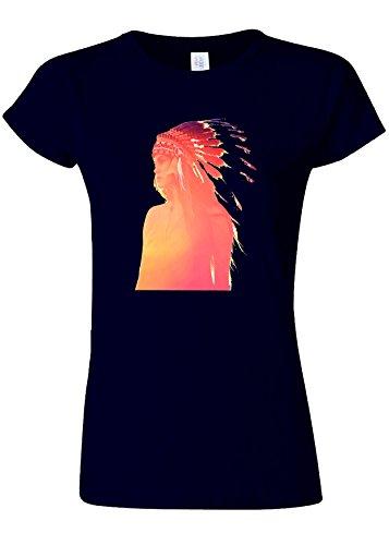 手つかずのインディカおとなしいIndian Headdress Girl Funny Novelty Navy Women T Shirt Top-M