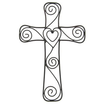 Aunt Chris' Products - Heart & Swirls Metal Cross - Wall Mounted Decor - Layered Hearts In The Middle - Use Indoor Or - Metal Wall Chestnut