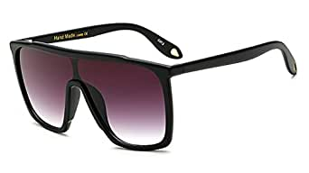 Flat Top Plastic Frame Shield Square Rectangular Men Sunglasses Women Boyfriend (Matte Black, 59)