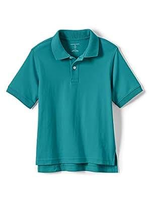 Lands' End School Uniform Little Kids Short Sleeve Interlock Polo Shirt - Blue - Small