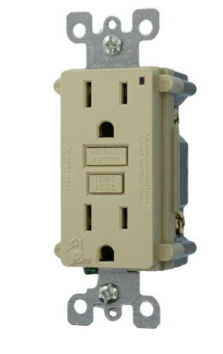 Leviton 7599-KI 15-Amp 125-Volt SmartLockPro Duplex GFCI Receptacle, Ivory