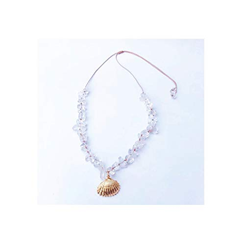 - Necklace Hand Woven Beads Necklace Bohemian Ladies Jewelry Gold Shell Short Necklace,Rose Gold Color