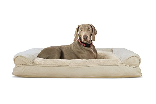 Furhaven Pet Plush & Suede Pillow Sofa Pet Bed, Clay, Jumbo