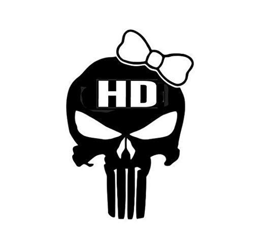 Punisher Skull Harley Girl Decal (Choose Size and Color) 143