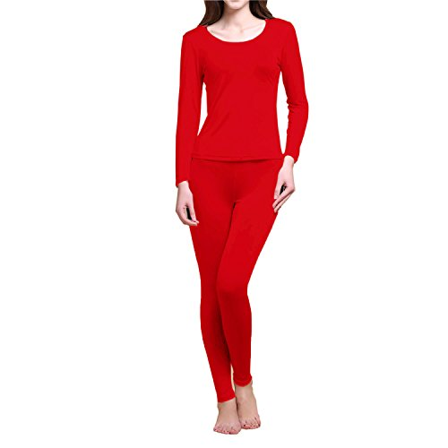 Paradise Silk Pure Silk Knit Women Thermal Long Johns Set (Small, Red)