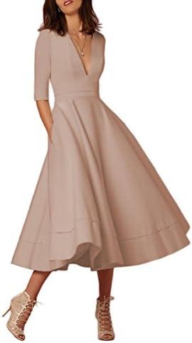 12646683e YMING Women s Elegant Half Sleeve Deep V Neck Vintage Cocktail Tunic Swing  Dress