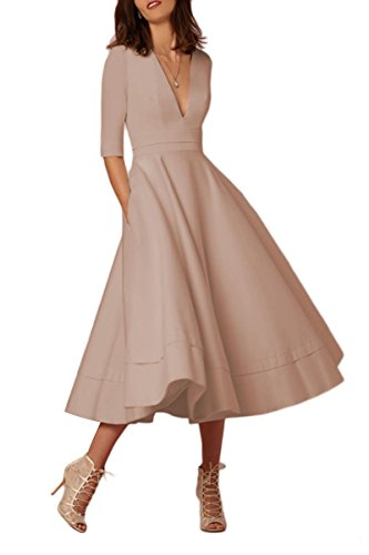 YMING Women's Cocktail Dress High Waist A-Line Tunic Swing Audrey Hepburn Apricot M