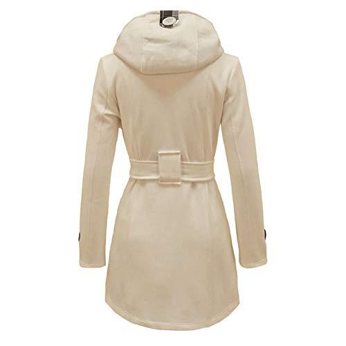 Manches Molleton Femmes Chaud Ceinturée Blanc Blouson Bouton Manteau Longues Hiver Parka Eshoo 57wq6ZFAcZ