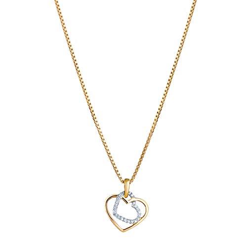 14K Yellow Gold Diamond Accent Double Heart Pendant ()