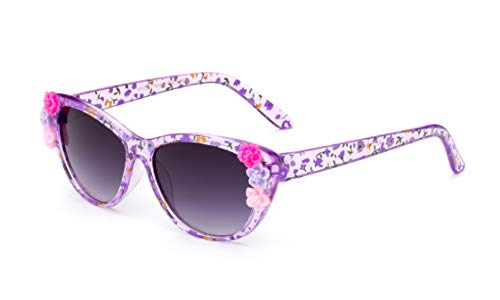 - Newbee Fashion- Kids Girls Toddlers Fashion Sunglasses Cateye Cute Sunglasses with Flowers UV Protection w/Pouch (0-5 YRS)