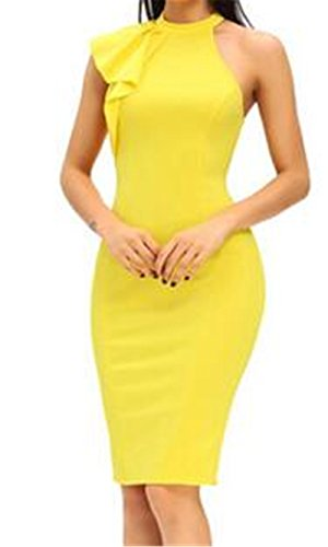 JoyeArt Women's Single shoulder-high neck sleeveless Sexy package buttocks skirt dress in the pencil of the lotus leaf