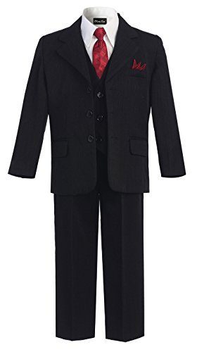 - OLIVIA KOO Boys Pinstripe 6-Piece Suit With Matching Neck Tie and Pocket Square,Black,8
