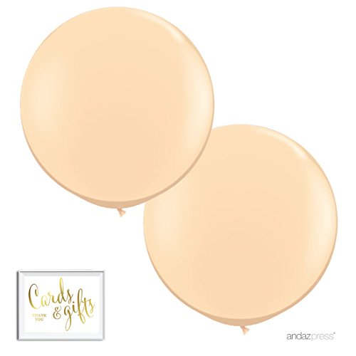 Andaz Press 3-Foot Huge 36-inch Latex Balloon Party Kit with Gold Cards & Gifts Sign, Peach, 2-Pack, For Blush Champagne Themed Wedding Baby Shower Decorations (36 Inch Latex Balloon Peach)