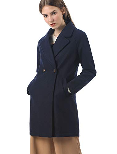Allegra K Women's Notched Lapel Double Breasted Raglan Winter Coats Blue L (US 14) Double Breasted Wool Skirt