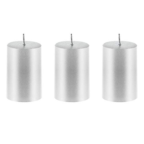 Mega Candles 3 pcs Unscented Silver Round Pillar Candle | Hand Poured Premium Wax Candles 2
