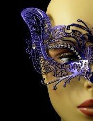 Laser Cut Venetian Halloween Masquerade Mask Costume Extravagant and Elegant Cat Detailed Inspire Design - Blue w/ (Extravagant Masquerade Masks)
