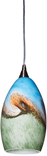 Elk 10077/1 Geologic 1-Light Pendant In Satin Nickel (Pattern may vary slightly) (Kitchen Pendant Colored Lights)
