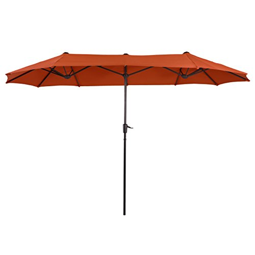 PHI VILLA 13ft Double-Sided Twin Outdoor Patio Umbrella Market Umbrella, Orange -