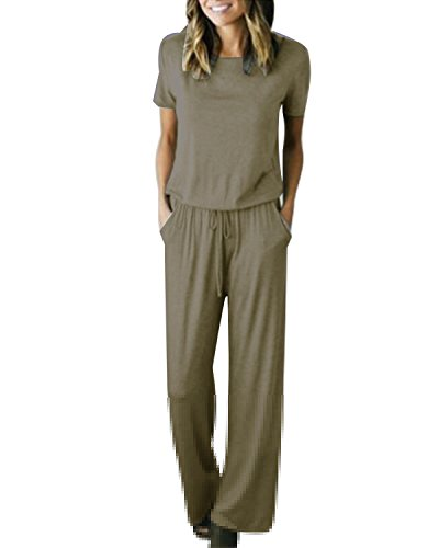ide Legs Short Sleeve One Piece Jumpsuit Romper with Pockets Army Green XL ()