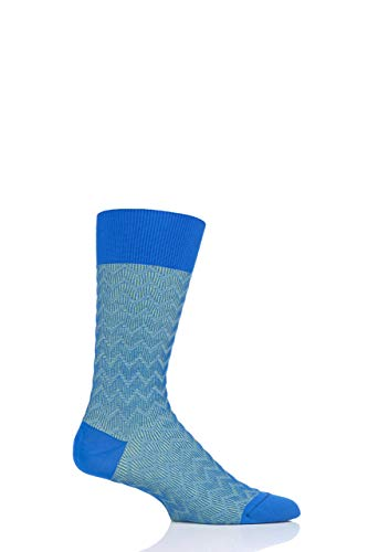 Pantherella Mens Corbusier Shadow Rib Zig Zag Cotton Socks Pack of 1 Sapphire ()