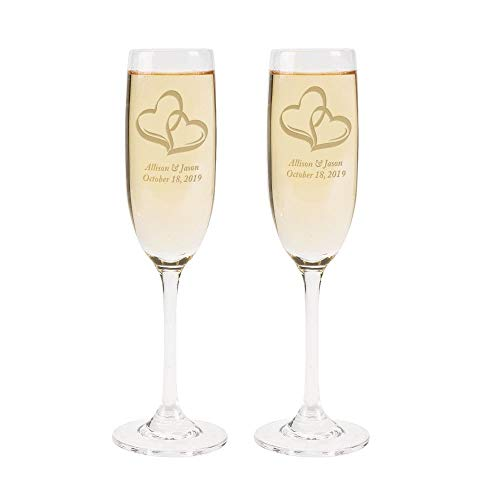 Personalized Two Hearts Wedding Flute Set – Wedding Supplies Champagne Shot Glasses