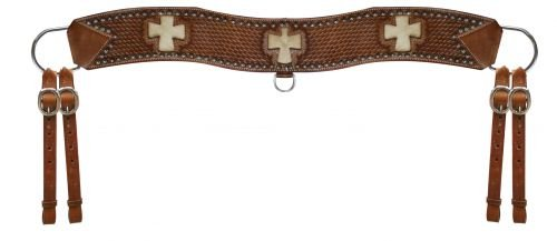 (Showman Leather Basket Weave Tooled Tripping Collar with Cutout Cross (Medium Oil))
