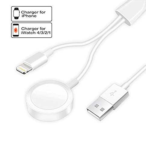 - 31UHgRvB2gL - Compatible with Apple Watch iWatch Charger, 2 in 1 Wireless Charger Cable Compatible with for Apple Watch Series 4/3/2/1 and iPhone XR/XS/XS Max/X/8/8Plus/7/7Plus/6/6Plus