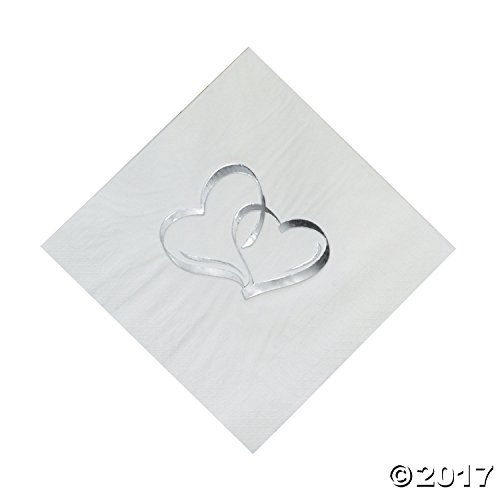 Two Hearts Luncheon Napkins (50 pc) by Fun (Love Beverage Napkins)
