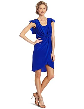 Suzi Chin Women's Flutter Sleeve Dress, Tidal, 6