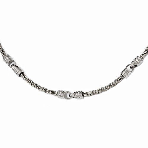 Sonia Jewels Titanium Brushed Cable & Polished Link Necklace Chain 20