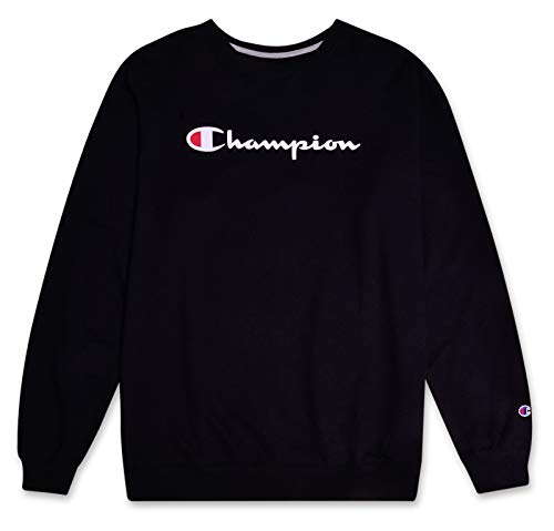 Champion Mens Big and Tall Crewneck Pullover French Terry Sweatshirt with Script Logo Black 2XT