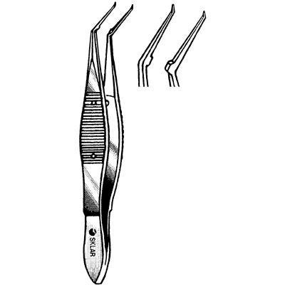 Sklar Instrument 66-5351 Kraff-Utrata Capsulorhexis Forceps, Curved, Tips Flat Handle with Iris Stops 12 mm, Long Smooth Jaws, 0.33 mm Tip, 4'' Length