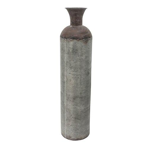 Sagebrook Home Metal Cylinder Bottle VASE, Weathered Gray/Bronze, 7.25x7.25x31.5,