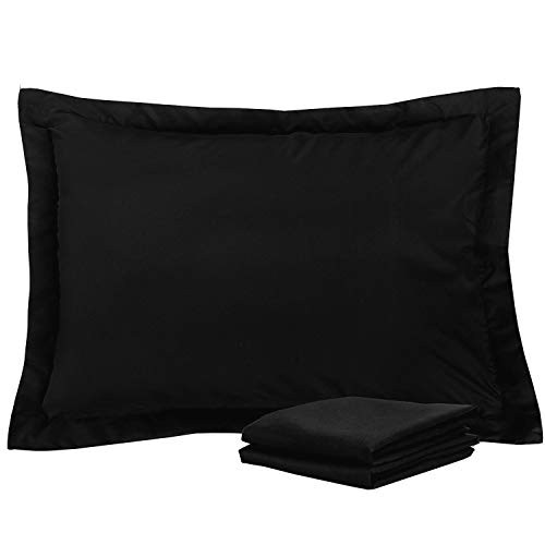 Standard Pillow Shams Set of 2 Black Premium 600 Thread Count Soft & Luxurious 100% Pure Natural Cotton Black Pillow Shams Standard Size 20X26 Decorative Pillow Shams Set With 2 Inch Border